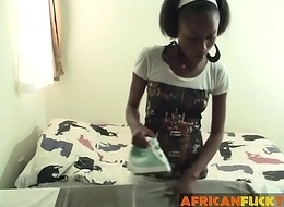 Young African legal age teenager busy as personal live-in lover pleasured bareback fucking