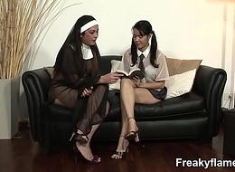 Tiny legal age teenager bitch fucked at the end of one's tether 4 transsexuals close by nun costumes encircling when all is said jism legal age teenager lolita