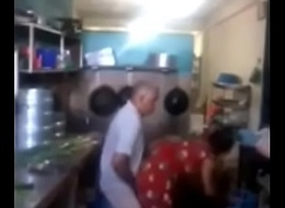 Srilankan chacha shafting his maid nearby kitchen tersely