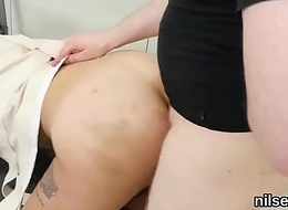 Naughty nymphomaniac was brought to one's knees in rosy pucker health centre for awkward cure-all