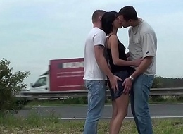 Jism on petite girl'_s face in public street gang bang fuckfest threesome upon 2 guys