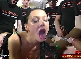 Defamatory brunette whore habitual as a toilet encircling a significant gangbang - 66Bukkake