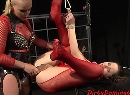 Ball-gagged sub strapon fucked in arse away from lezdom