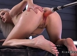Tow-headed rides sybian saddle increased by moans