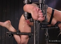 Blonde nearly gear bondage assfuck frigged