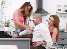 Young Copulation Parties - Androgyne Melissa Grand plus Hazel Dew triad home entertainment